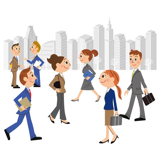 街行く会社員たち